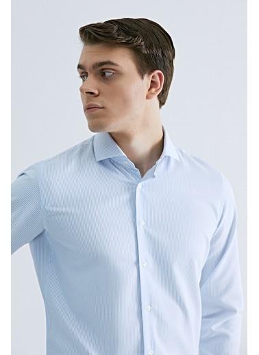 D'S Damat Slim Fit Çizgili Gömlek Mavi